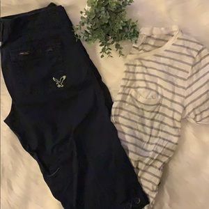 American Eagle Capris and H&M T-shirt